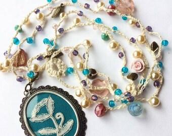 Denise Vintage Lace Crochet Beaded Pendant Necklace