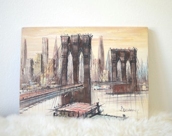 Vintage Brooklyn Bridge Painting | Mid Century Painting | Duchamp Painting