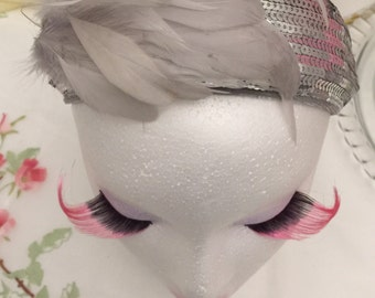 Vtg FANTASTIC GREY FASCINATOR/Gatsby Headband / Silver Sequins on Headband with Grey Feathers