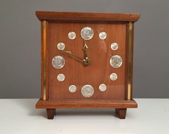 Midcentury Clock with antiques coins teak & Brass