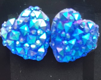 Blue iridescent, sparkly resin faceted heart stud earrings