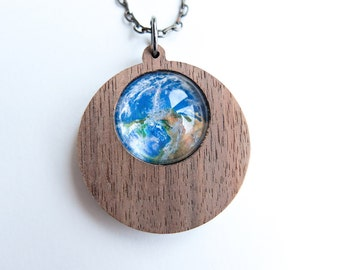 Planet Earth Wooden Round Drop Pendant Necklace