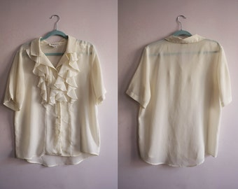 80s Cream Ruffle Blouse