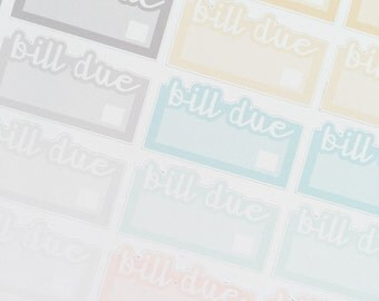 BILL DUE LABEL Stickers Neutral