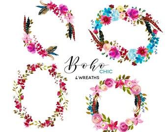 Pink Floral Boho Chic Wreaths Clip Art Watercolor Flowers  Roses Peonies Clipart Set Digital DIY Invitation Frames PNG Nursery