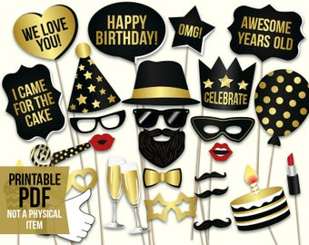 Birthday photo booth props: printable PDF. Black and gold birthday party supplies. Instant download. Mustache, glasses, happy birthday