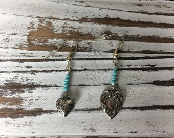 Handmade Earrings- Silver hearts with Mint Gem