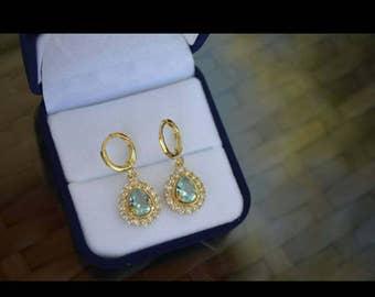 18k GP Aquamarine Topaz & Simulated diamond Earrings