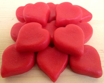 Marzipan Hearts (14)- Valentine's edible gift- Valentine's cake topper- Valentine's edible treats- fondant hearts- cupcake heart decorations