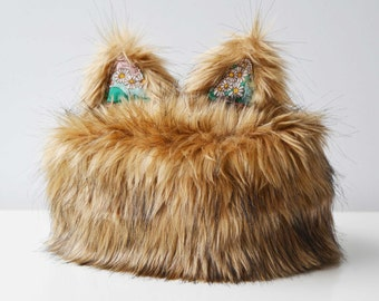 Hat winter hat to cat ears chestnut brown fur