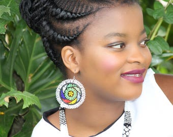 Zulu Beaded Outer Coloured Earrings-White