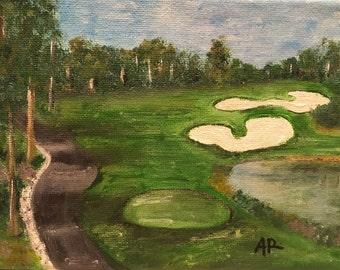 Hole 12; acrylic painting, canvas art, golf, green