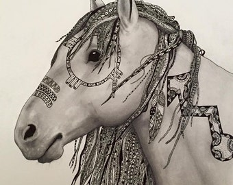 Zentangle Native American Horse - Print
