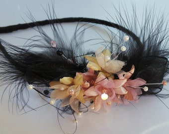 ladies feather and flower fascinator
