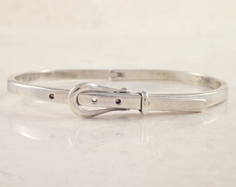 Sterling Silver Buckle Bangle Bracelet