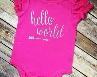 Hello World Baby Bodysuit. Hello World. Newborn Baby. Baby.