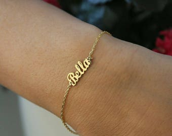 14k Solid Gold-Tiny Name Bracelet-Gold Bracelet-Name Bracelet-Gold Jewelry-Gold-14K Name Bracelets-Bridesmaid Gift-Personalized Gift