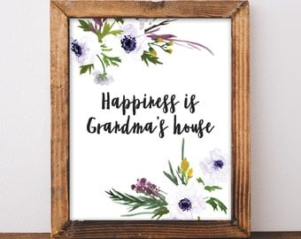 New Grandma Gift - Grandmas House Sign - Floral Grandma Quote - Grandma Gift - Gift For Grandma - Digital Download Print - 8x10 Printable