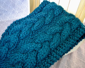 Knitted cables chunky infinity oversized blue scarf, comfy and warm for winter and spring - cozy fashion for her - women winter wear