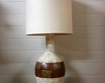 Vintage Mid Century Modern Table Lamp Ceramic White Large Retro 60s
