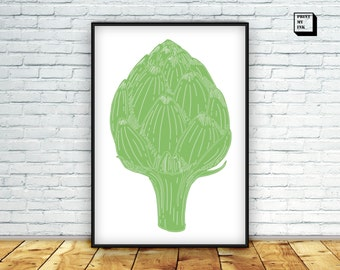 artichoke art, kitchen art print, vegetable poster, artichoke download, green home decor, kitchen decor, digital artichoke, green artichoke