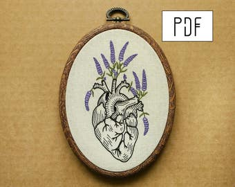 Lavender Human Heart Hand Embroidery Pattern (PDF modern embroidery pattern)