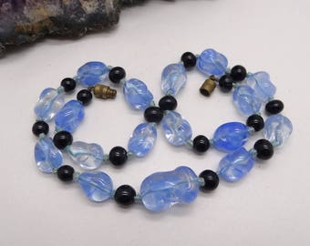 Vintage Pinched Blue Glass 1950's Beaded Necklace