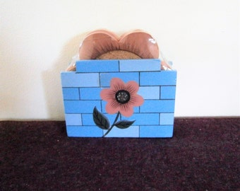 Coasters Wood Cork NOS Holder Container Daisy Flowers Blue Pink Unopened