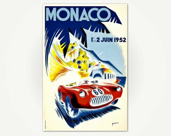 Monaco Grand Prix 1952 Poster Print - Vintage Car Racing Poster Art