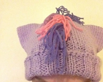 Purple Pony Hat - Hand-Knit Hat with Ears and Fringe - My Little Pony Twilight Sparkle