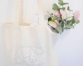 SAMPLE SALE Embroidered organic cotton tote bag