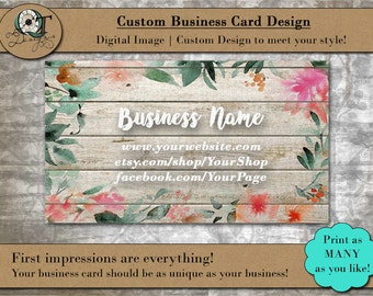 Barnwood Water Color Style | Standard Business Card | 3.5 x 2 inch | Double Side | Business Card Design | Premade Design | Graphic Design