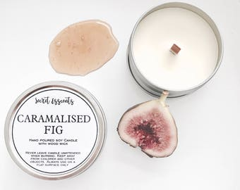 Caramalised Fig Natural Soy Wax Tin Candle with Wooden Wick