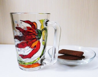 Painted Mug  / Painted Glass / Red Flower Mug / Flower Mugs / Hand Painted Mugs / Painted Coffee Mug / Hand Painted Mug / Painted Floral Cup
