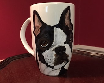 Large Boston Terrier Mug, hand painted glassware by Ana Peralta