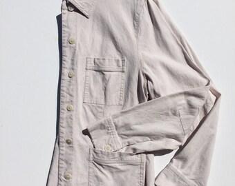 90s Cream Linen Chore Workwear Jacket