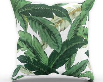 Banana Leaf Cushion, Tropical Cushion, Palm Leaf Cushion, Garden Cushion, Cushion Cover, Green Cushion, Square Cushion, Leaves Cushion