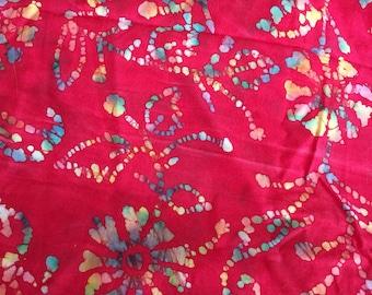 Red cotton batik fabric 1 3/4yd