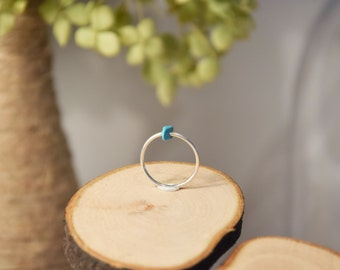 Ring fine silver and turquoise, natural stone, gift Valentine