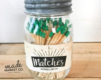 Green Tip Colored Matches. Match Sticks Decorative Mason Jar. Farmhouse Nordic Home Decor. Unique Gifts for her. Strike Bottle 80 count