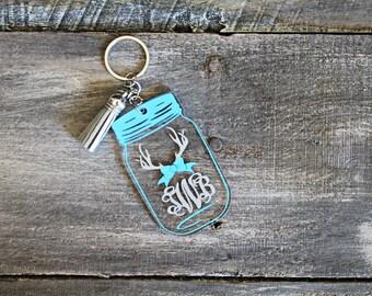 Custom monogram Mason Jar Keychain with antlers, Antlers with bow keychain, glitter antlers with bow, acrylic keychain, Christmas gift