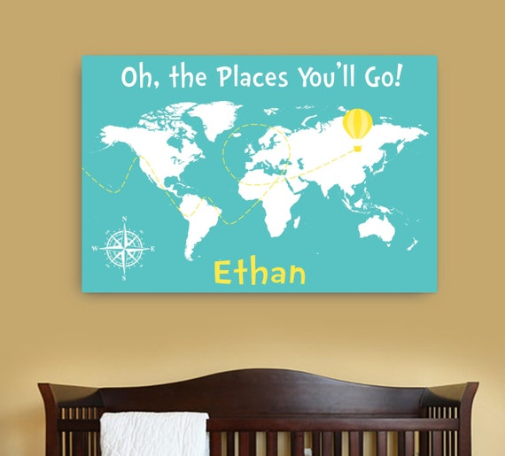 oh the places you will go canvas map with namepersonalized dr. Black Bedroom Furniture Sets. Home Design Ideas