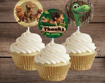 Printed or Digital - Good Dinosaur Cupcake Toppers, Printable Good Dinosaur Party Decoration, Instant Download, Good Dinosaur Birthday Party