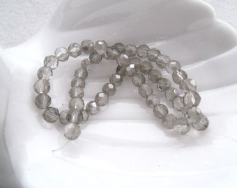 6 mm Faceted Light Smoke Glass Beads (1729)