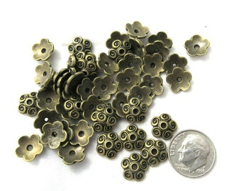 50 Antique Bronze Swirl Bead Caps 10mm (s14o)
