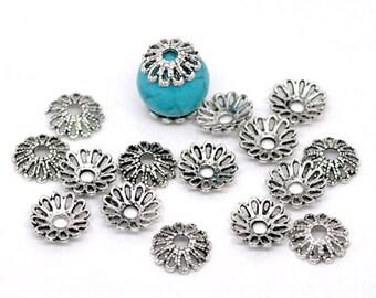 50 Antique Silver Flower Bead Caps 12mm (B171d)