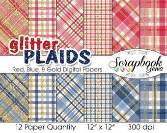 "Glitter Plaid Red, Navy Blue & Gold Digital Papers, 12 Pieces, 12"" x 12"", High Quality JPEGs, Instant Download Commercial Scrapbook tartan"