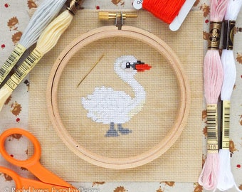 White Swan Easy Beginners Cross Stitch Pattern PDF