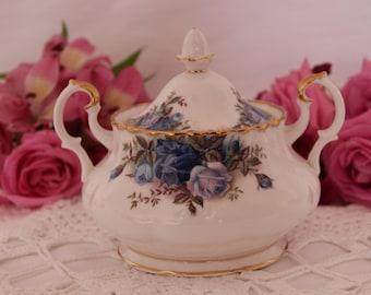 Royal Albert Moonlight Rose Sugar Bowl with Lid gift for her RARE
