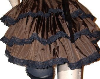 STEAMPUNK BRONZE TIE on bustle, burlesque bustle, gothic bustle, steampunk skirt, burlesque costume, burlesque skirt, gothic skirt, any size